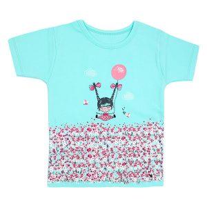 تی شرت دخترانه آستین کوتاه کوکالو طرح دختر و بادکنک