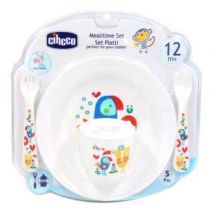 ست 5 تکه ظرف غذای کودک سیکو طرح طوطی رنگ سفید