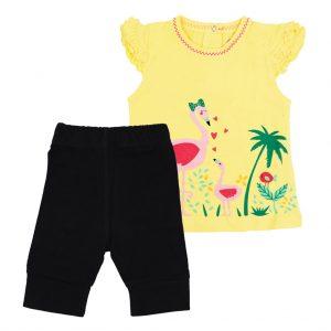ست تی شرت و شلوارک دخترانه آدمک طرح فلامینگو زرد