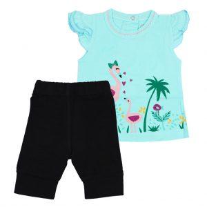 ست تی شرت و شلوارک دخترانه آدمک طرح فلامینگو آبی