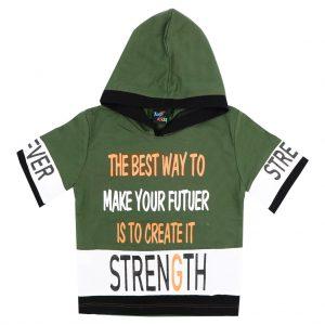 هودی آستین کوتاه پسرانه Top Kids کد 1169 رنگ سبز