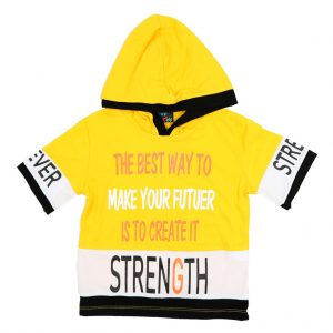 هودی آستین کوتاه پسرانه Top Kids کد 1169 رنگ زرد