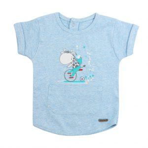 تی شرت پسرانه آستین کوتاه کوکالو طرح زرافه آبی