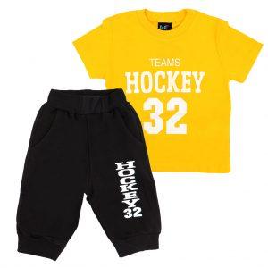 ست تی شرت و شلوارک پسرانه Top Kids کد 1167 رنگ زرد