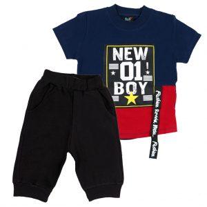 ست تی شرت و شلوارک پسرانه Top Kids کد 1165 رنگ سرمه ای