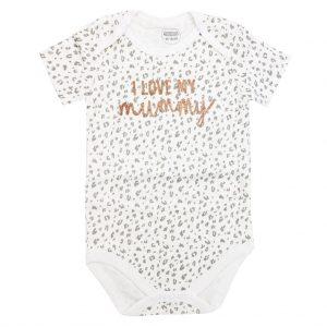 بادی دخترانه آستین کوتاه mamas & papas طرح Love Mommy سفید