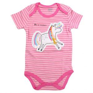 بادی دخترانه آستین کوتاه mamas & papas طرح Unicorn Embroidery