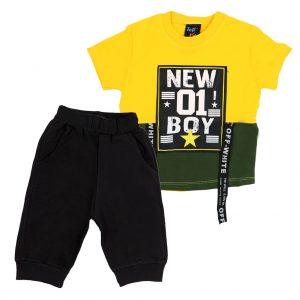 ست تی شرت و شلوارک پسرانه Top Kids کد 1165 رنگ زرد