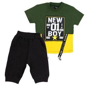 ست تی شرت و شلوارک پسرانه Top Kids کد 1165 رنگ سبز