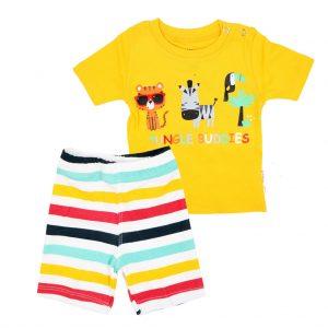 ست تی شرت و شلوارک اسپرت آدمک طرح JUNGEL BUDDIES زرد