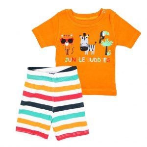 ست تی شرت و شلوارک اسپرت آدمک طرح JUNGEL BUDDIES نارنجی