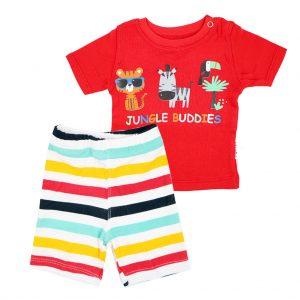 ست تی شرت و شلوارک اسپرت آدمک طرح JUNGEL BUDDIES قرمز