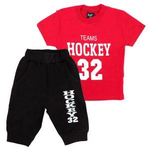 ست تی شرت و شلوارک پسرانه Top Kids کد 1167 رنگ قرمز
