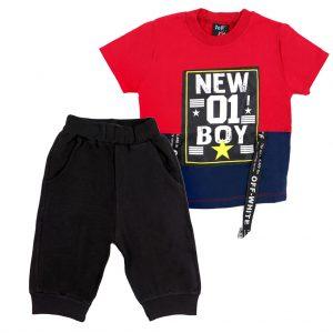 ست تی شرت و شلوارک پسرانه Top Kids کد 1165 رنگ قرمز