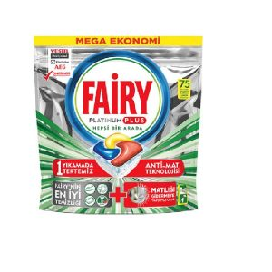 قرص ماشین ظرفشویی فیری fairy پلاتینیوم پلاس بسته 75 عددی