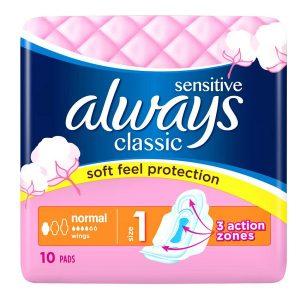 نوار بهداشتی آلویز always مدل classic sensitive سایز نرمال 10 عددی