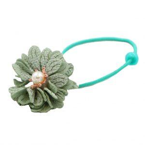 کش سر دخترانه مدل گل مرواریدی رنگ سبز