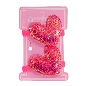 کش سر دخترانه دو عددی پولکی مدل قلب صورتی