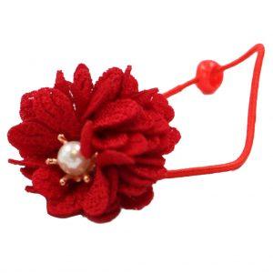 کش سر دخترانه مدل گل مرواریدی رنگ قرمز