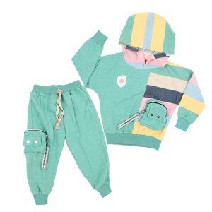 ست سویشرت و شلوار دخترانه HOBON مدل رینگر رنگ سبز